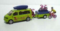 2541 Radrennen Set, VW T5 mit Anhänger und Radfahrer