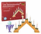 Idena 8582092 Adventsleuchter mit 7 LED Kerzen / Lichtern  mit AA Batterien